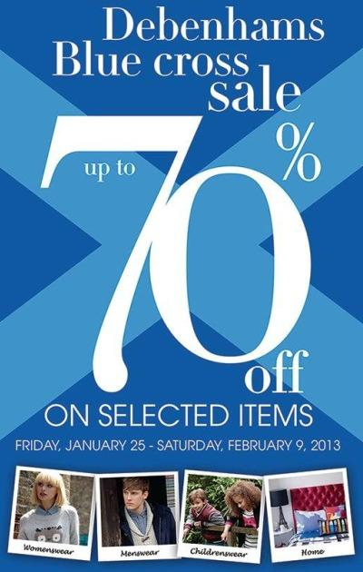 Debenhams Blue Cross 2013 Sale