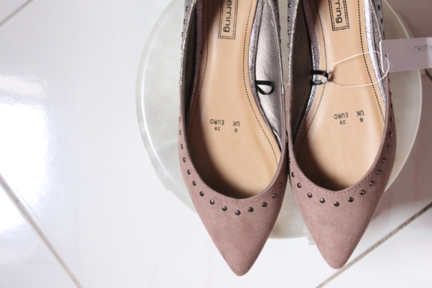 red herring taupe suedette studded pointed toe pumps-1